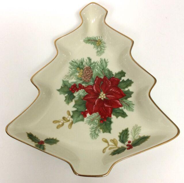 Mikasa Christmas Tree Candy Dish Holiday Bloom Holly Poinsettia ...