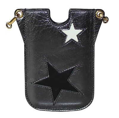 NEW $300 DOLCE & GABBANA Phone Case Cover Black Leather Star Embellished iPhone3