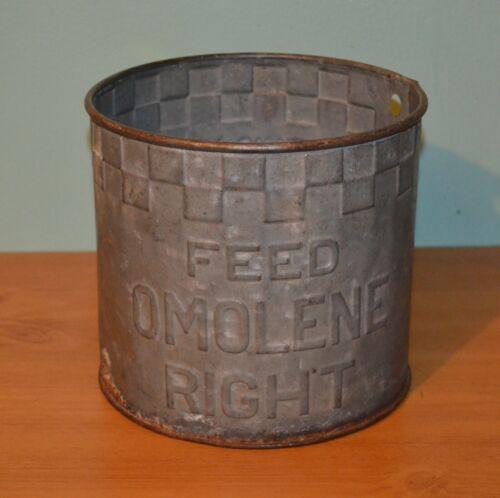 Old Antique Omolene Advertising Feed Bucket Farm  Pail Galvanized Metal Can