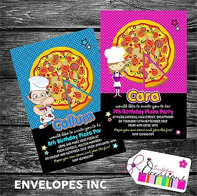 Personalised Birthday Invitations Pizza Making Party x 5