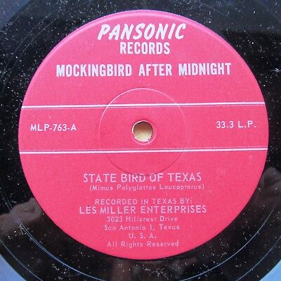 STATE BIRD OF TEXAS 7-inch EP record MOCKINGIRD AFTER MIDNIGHT Pansonic ML P-763