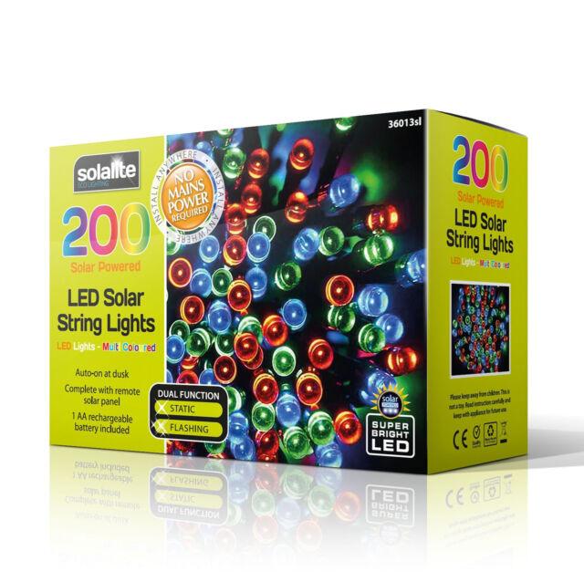 200 Led Multi Coloured Solar Powered Fairy String Lights Garden Party Xmas