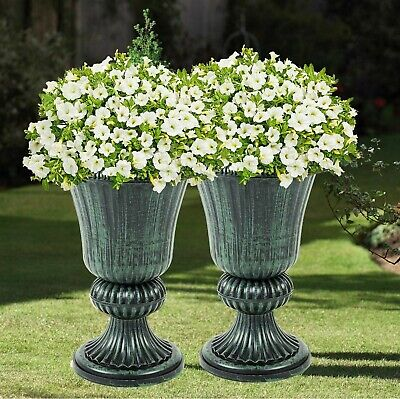 Outdoor Patio Planters (2 x CLASSIC GREEN URN PLANTERS PLASTIC FLOWER PLANT POT OUTDOOR PATIO GARDEN)