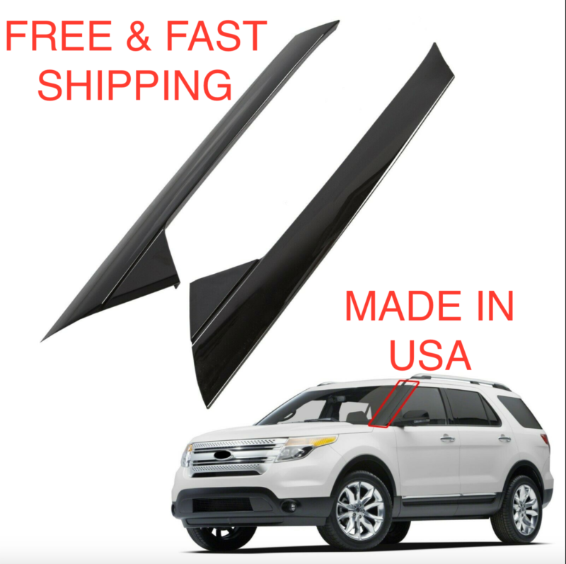 2011-2019 Ford Explorer Both Side Upper Windshield Black Molding Pillar w//clip