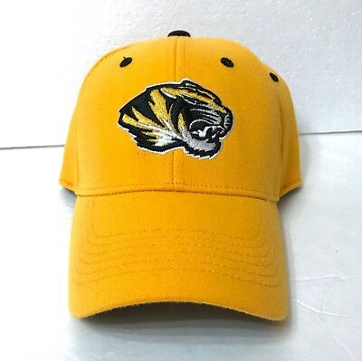 MIZZOU TIGERS HAT Top of the World Yellow Black Curved Bill Structured Fit OSFM