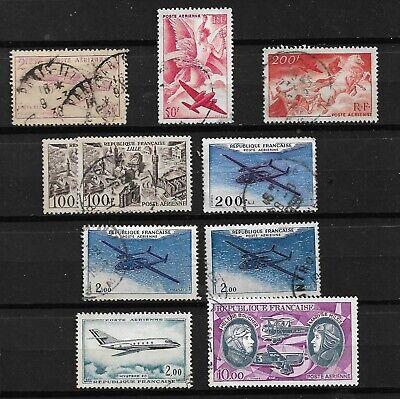 Lot de 10 Timbres - FRANCE - Poste Aérienne - Oblitérés - (33)
