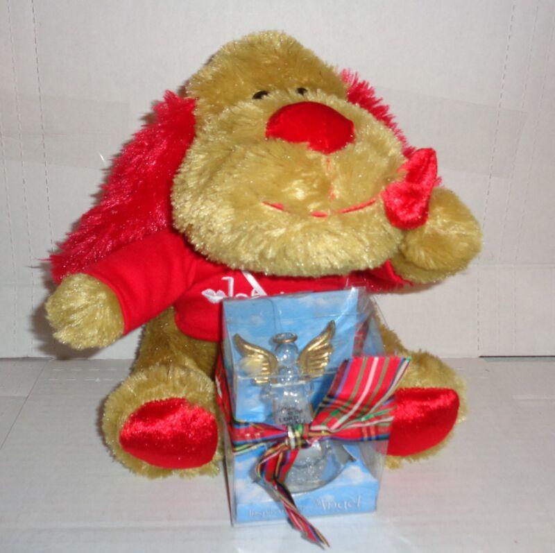 "ValentineStuffed Bernine Bear w/ Inspirational Angel Figurine ""Thank You Lord fo"