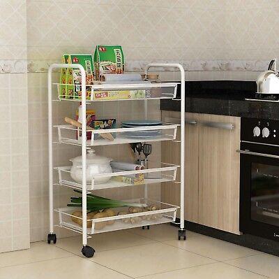 4 Tier-mesh (White 4 Tier Mesh Rolling Cart Trolley Storage Rack Wheel for Kitchen Bathroom)