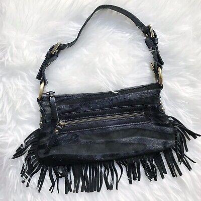 Innue Black Fringe Hide Leather Textured Shoulder Mini Bag Purse Made In Italy