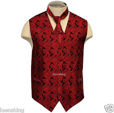 New Brand Q Men's Paisley Vest Tuxedo Waistcoat & Necktie re