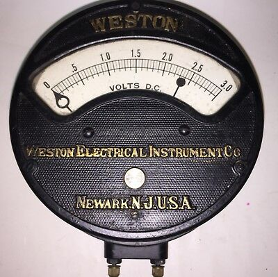 Vintage Large Weston Dc Volts Meter Electric Gauge Ship Power Plant Steampunk