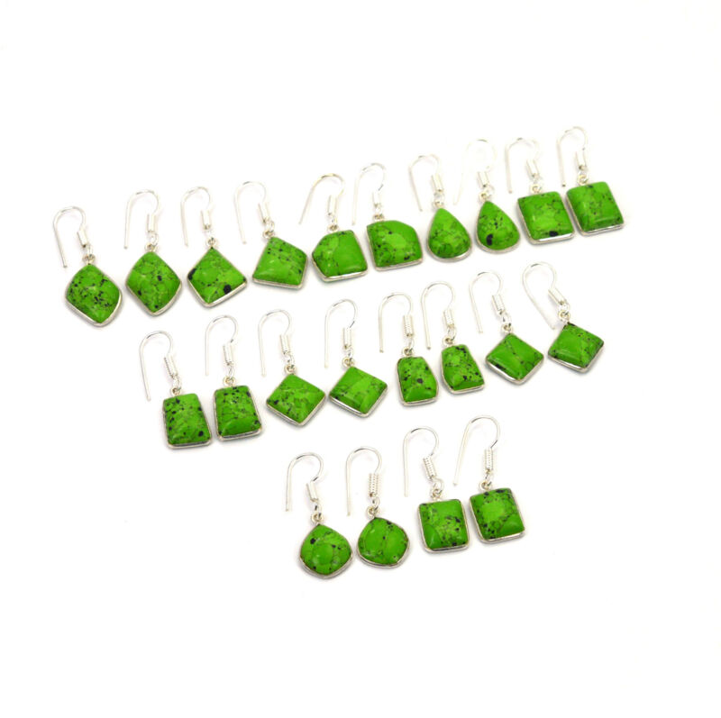 WHOLESALE 11PR 925 SILVER PLATED GREEN TURQUOISE HOOK EARRING LOT Q242