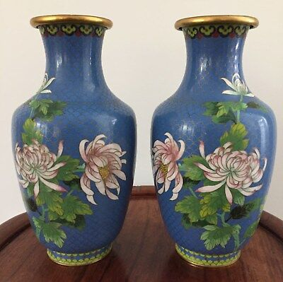 Pair 19th/20thc Chinese Cloisonne Vase Birds & Flowers 26cm tall