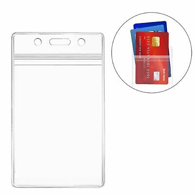 ID Card Holder Clear Plastic Badge Resealable Waterproof Business Case Clothing, Shoes & Accessories