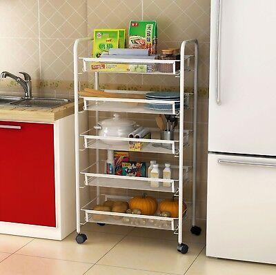 White 5 Tier Mesh Rolling Cart Trolley Storage Rack Wheel for Kitchen Bathroom - 5 Tier-mesh