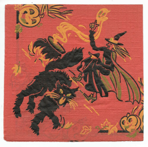 Vintage Crepe/Paper Halloween Napkin ~ Witch, Cauldron, Black Cat, Owl, Pumpkin