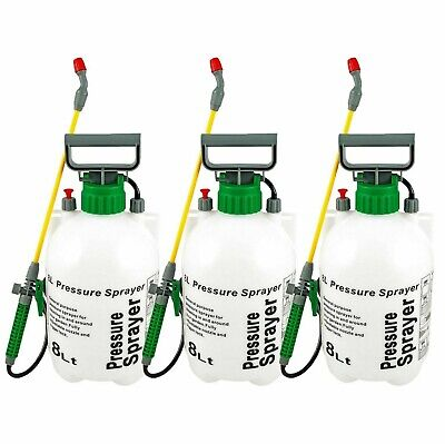3 x 8L Litre Pressure Sprayer Knapsack Spray Weed Killer Garden Chemicals Water