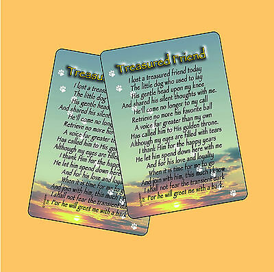 """Treasured Friend"" Poem - Male Dog - Memorial Pet Loss 2 Verse Cards - SKU# 706"