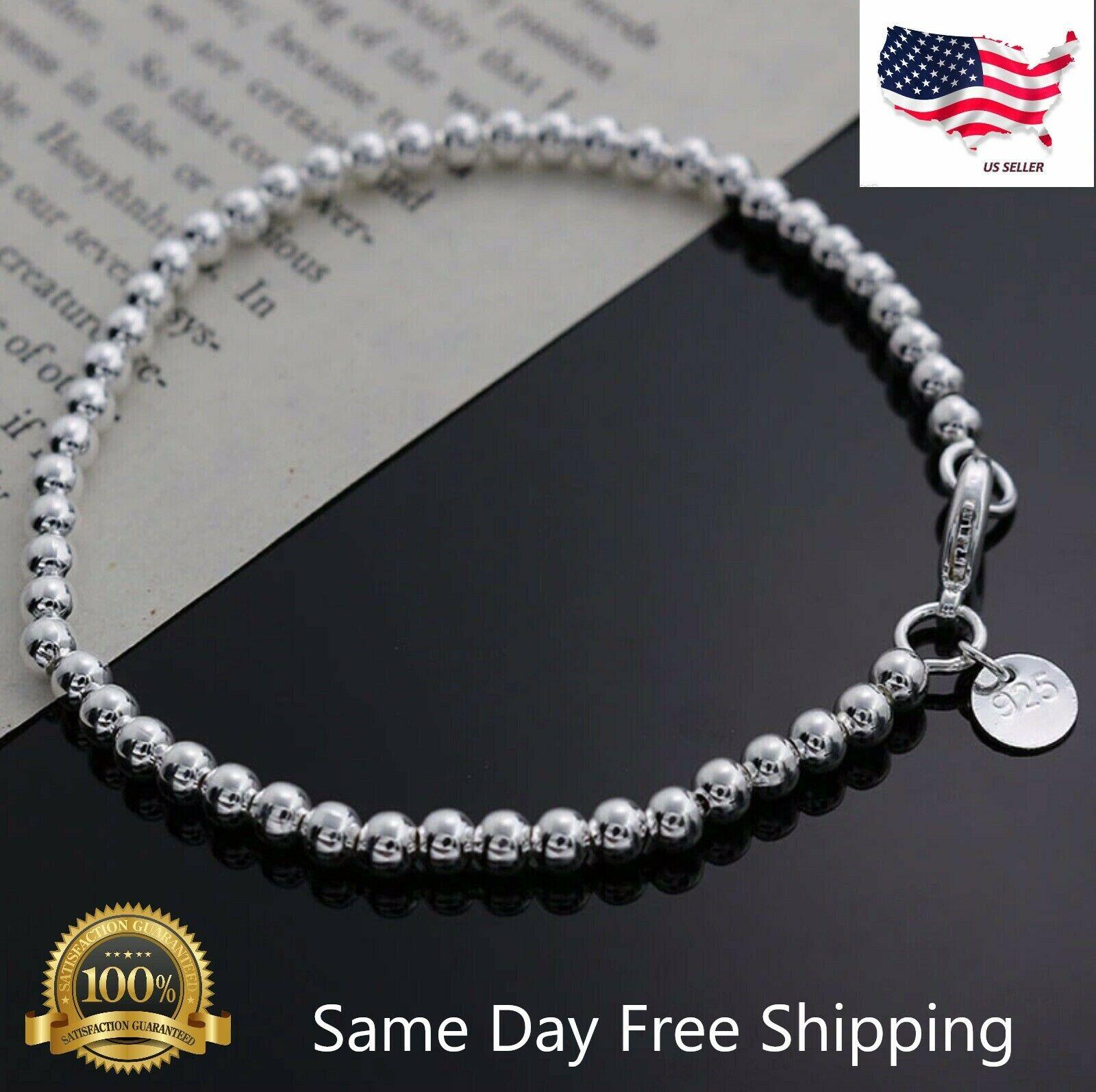Jewellery - Womens 925 Sterling Silver Love Cuff Bead Ball Open Bangle Charm Bracelet