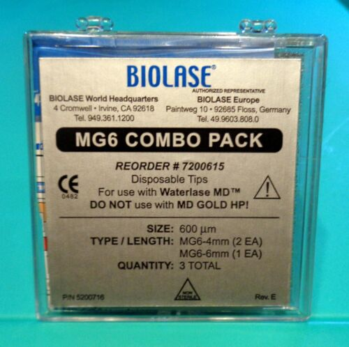 NEW, BIOLASE LASER TIPS, MG6 16 - 4MM, & 8 - 6MM, 24 TIPS. RUBBER SHANK