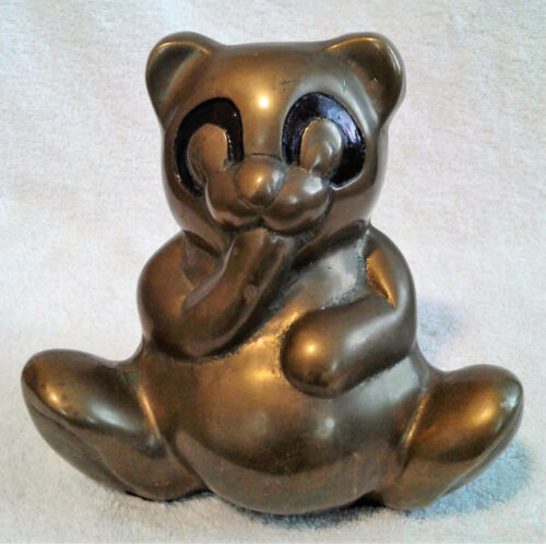 Vintage Brass Teddy Bear Bank Large Heavy - Unique