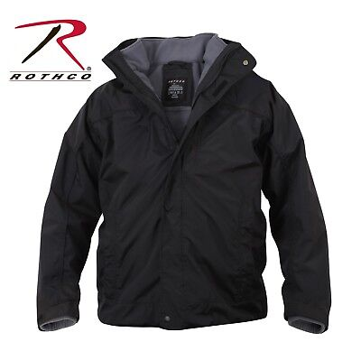 Black Military Tactical All Weather Waterproof 3 Season Lined Jacket Rothco 7704 Breathable 3 Season Jacket