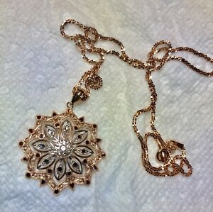 Rose gold pendant and chain 10k gold