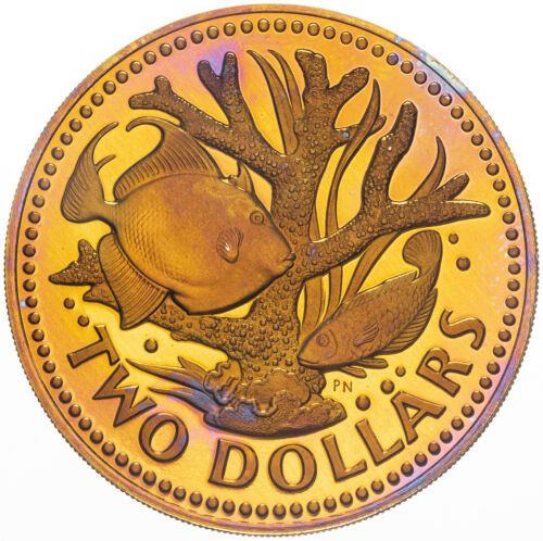 1975 BARBADOS TWO DOLLARS BOLD MAGENTA GOLDEN INTENSE COLOR BU TONED UNC (MR)