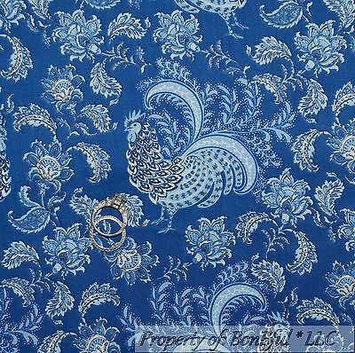 BonEful Fabric Cotton Quilt Blue White Bird Flower Scenic Old Farm Rooster SCRAP