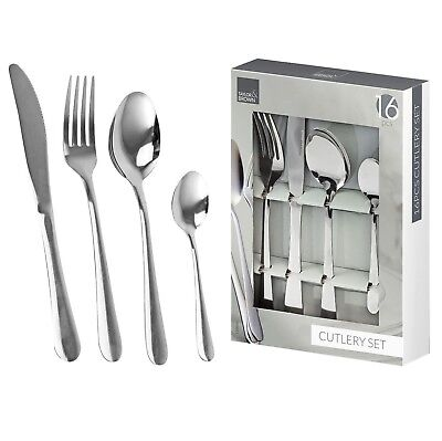 16 Piece Stainless Steel Cutlery Set Knives Forks Spoons Teaspoons Family Guests