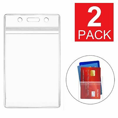 2-Pack ID Card Holder Clear Plastic Badge Resealable Waterproof Business Case Clothing, Shoes & Accessories