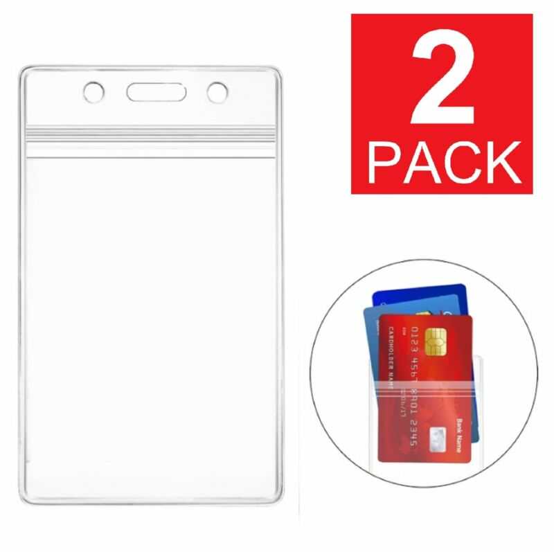 2-Pack ID Card Holder Clear Plastic Badge Resealable Waterproof Business Case