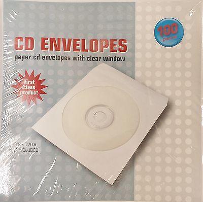1000 CD Sleeves Paper DVD CD-R  Sleeve white Window Flap Envelope cases #102177R