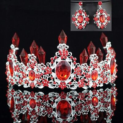 Queen Floral Red Austrian Rhinestone Crystal Tiara Crown Set Bridal Prom - Queen Tiara