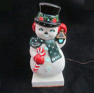 Vintage Musical Ceramic Mold Snowman Multi Color Light Up Music Box Xmas Figure