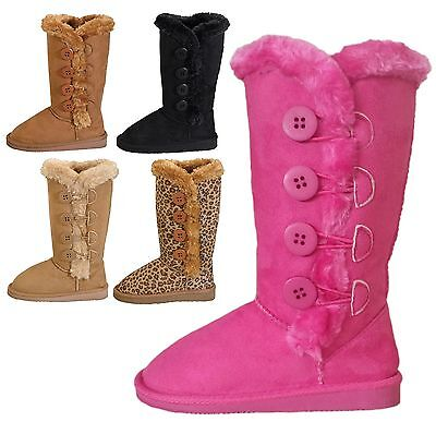 (Kids Girls Classic Side Button Flat Heel Round Toe Faux Fur Trim Boots 9 to 3)