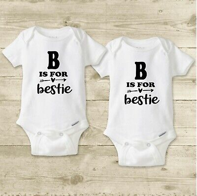 Twin Girl Bodysuits or Shirts SET, Matching Cousin Outfits, Best Friends