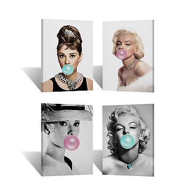 Audrey Hepburn and Marilyn Monroe Chewing Gum Canvas Print Wall Art Room Decor