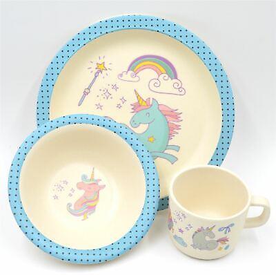 3 Piece Bamboo Dinnerware for Kids, Plate Cup & Bowl Set Eco Friendly   3 Piece Kids Dinnerware Set