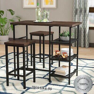 Pub Table Set 3 Piece Bar Stools Wood Metal Kitchen Dining Furniture Industrial  ()