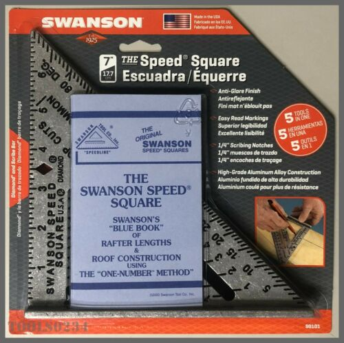 """Swanson® S0101 Speed Square 7"""" Diamond® & Scribe Bar - 5 Tools in One!"""