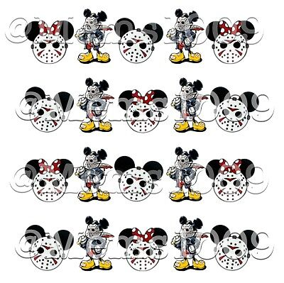 Minnie Mouse Halloween Nail Art (Halloween Nail art Decals water decals nail art Mickey And Minnie Mouse Nail)