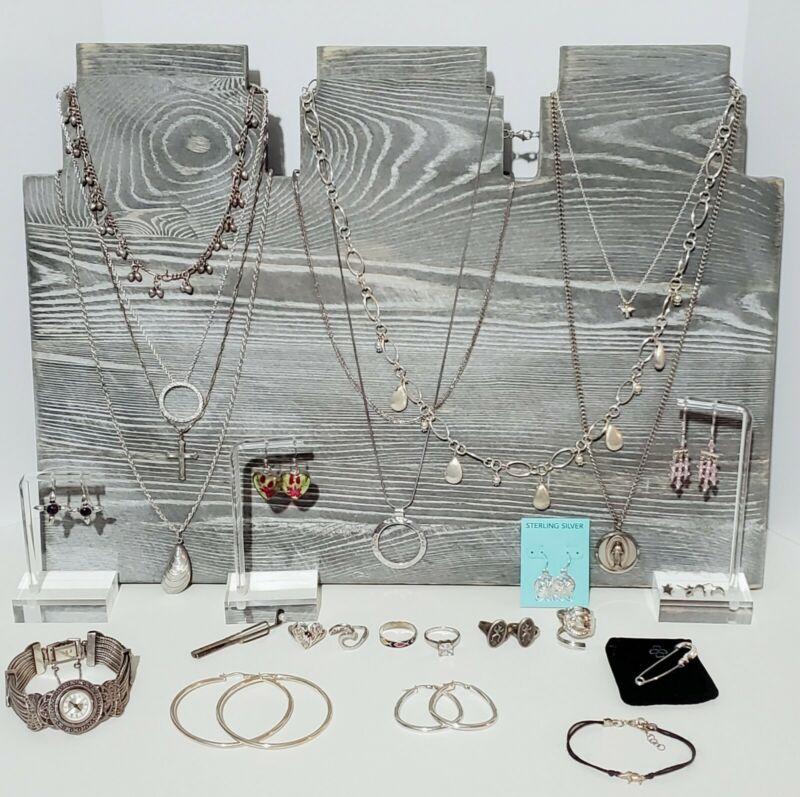 Sterling Silver 925 Jewelry Lot Necklaces, Bracelet, Earrings, Rings, 220 grams.