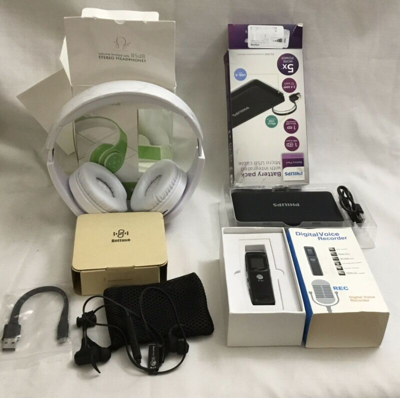 Lot Of 4 Electronics! Headphones, Earbuds, Voice Recorder, Battery Pack