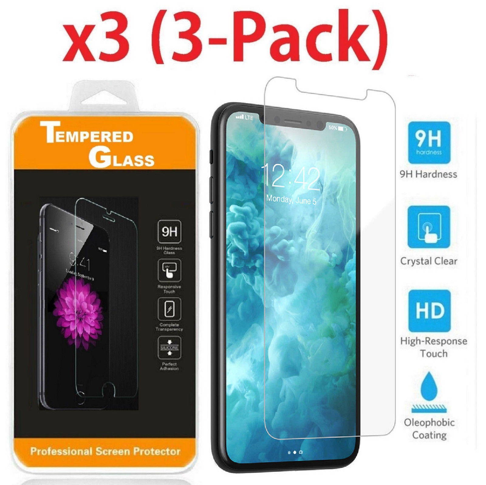 Premium Real Screen Protector Tempered Glass Film For iPhone 6 7 8 Plus Xs Max