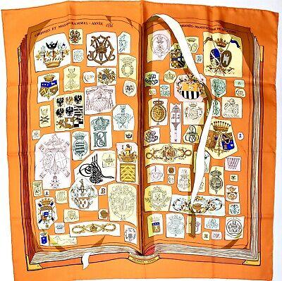 Hermes Paris 90cm 100% Silk Vintage Chiffres Et Monogrammes 1886 Année Scarf