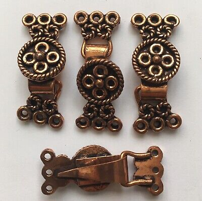 Solid copper antiqued Bali-style 3-strand hook clasp w/ flower pattern 3 Strand Hook Clasp