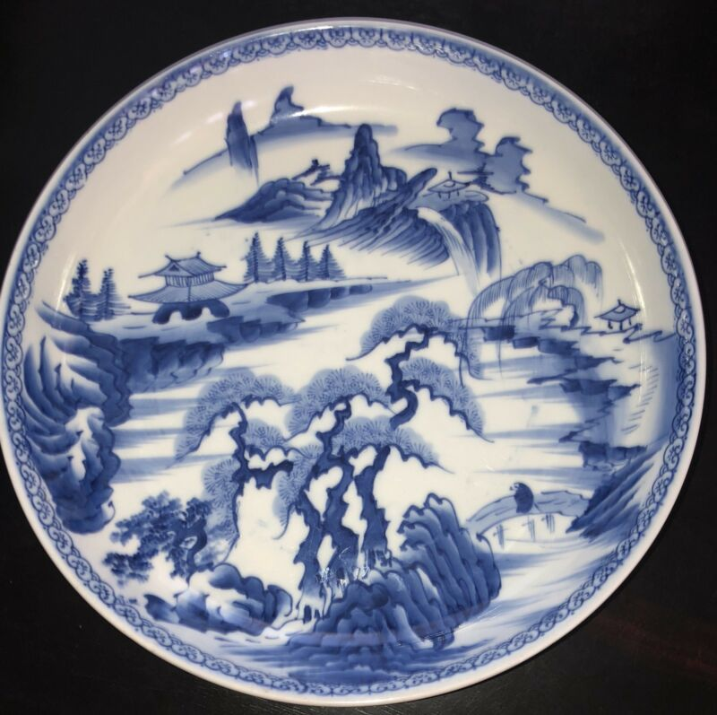 """Antique Blue White Mountains Japanese  Porcelain Plate Charger Shallow Bowl 13""""D"""