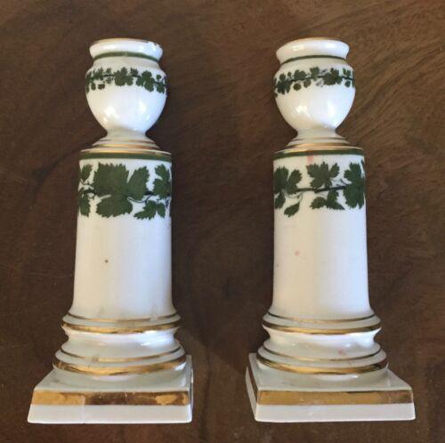 Pair Antique German Meissen Porcelain Candlesticks Green Napoleon Ivy Empire