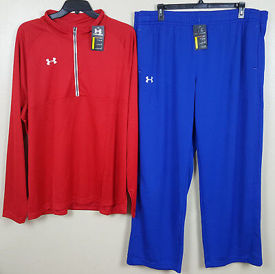 3f22256666b7c9 UNDER ARMOUR WARM UP SUIT 1 2 ZIP JACKET + PANTS RED ROYAL BLUE NEW (SIZE  3XL)